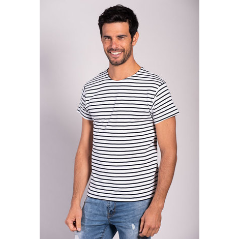 T-shirt Marinière Rayures Fines Manches Courtes-MORE